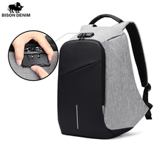 BISON DENIM Luxury Coded Lock Backpack Travelling Business Men's USB Charge Port Backpack Anti Theft Women Backpack Waterproof(China)