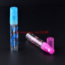 Brand new 100 pcs/lot 5ML Mini Cute Portable Glass Perfume Bottle With Plastic Spray&Empty Parfum Case