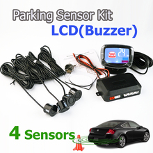 4 Sensors 22mm Buzzer LCD Parking Sensor Kit Display Car Reverse Backup Radar Monitor System 12V 7 Colors Car Auto Parktronic