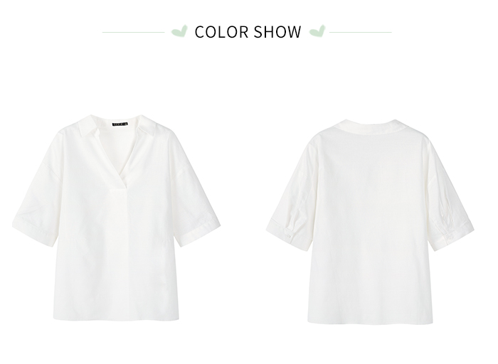 SEMIR Short sleeve white shirt women summer 19 new lapel V-neck shirt simple solid color students fresh relaxed blouse 13