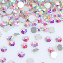 1440pcs Crystal Clear AB Rhinestones Colorful Flat Back Rhinestones 7 Sizes 3D Nail Art Decoration Gems Manicure DIY Nail Gel