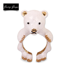 2017 New Style Original Vivid Lovely Bear Ring Elegant Noble Animal Jewelry Enamel Glaze Ring 3 Colors Can Choose From(China)