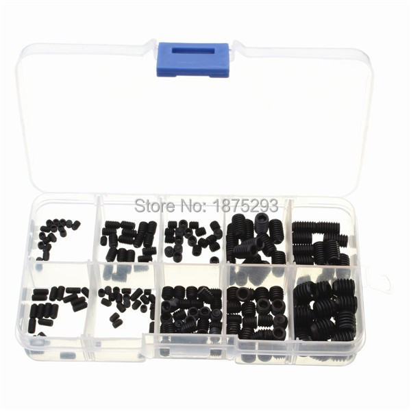 200pcs12.9 Class Allen Flat Head Socket Hex Set Screw Black M3 M4 M5 M6 M8 Grub Nut Grub Screw Assortment with Plastic Box<br><br>Aliexpress