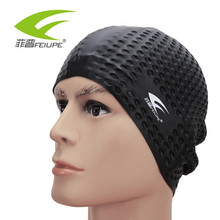 Flexible Silicone Waterproof Swimming Cap Swimwear/hat Cover Ear Swim for Men women Unisex Adult long short hair CAP111(China)