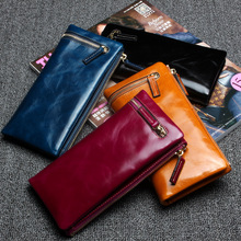 Hot Solid Leather Women wallets Double Zipper Hasp Large Capacity multifunctional ladies Purse Clutch Female Card Holder