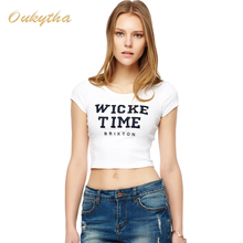 Oukytha Free Shipping Korean Fashion Navel Short shirt Casual Embroidered Letters Cotton Women T Shirt Silm M16006