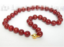 "DYY+++818 18"" 12mm natural round red sponge coral necklace"