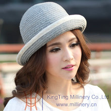 Free Shipping Women Summer Hats Straw Hat Sinamay Ribbons Sun-Shading New Arrival Summer Two Tone Colors Up Roll Brim New(China)