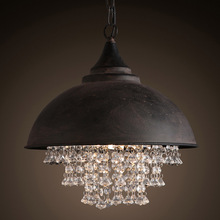 American Country Droplight Chic Classic Pendant Lamp LED/Incandescent Bulb Black Pot Cover Design Light Crystal Home Light Decor