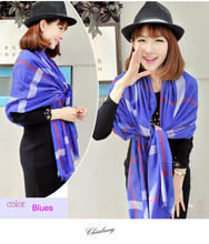 Women ladies British high qualtiy blues Plaid Cashmere Scarf Warm Cashmere Polyester Scarves Shawl L030-blues