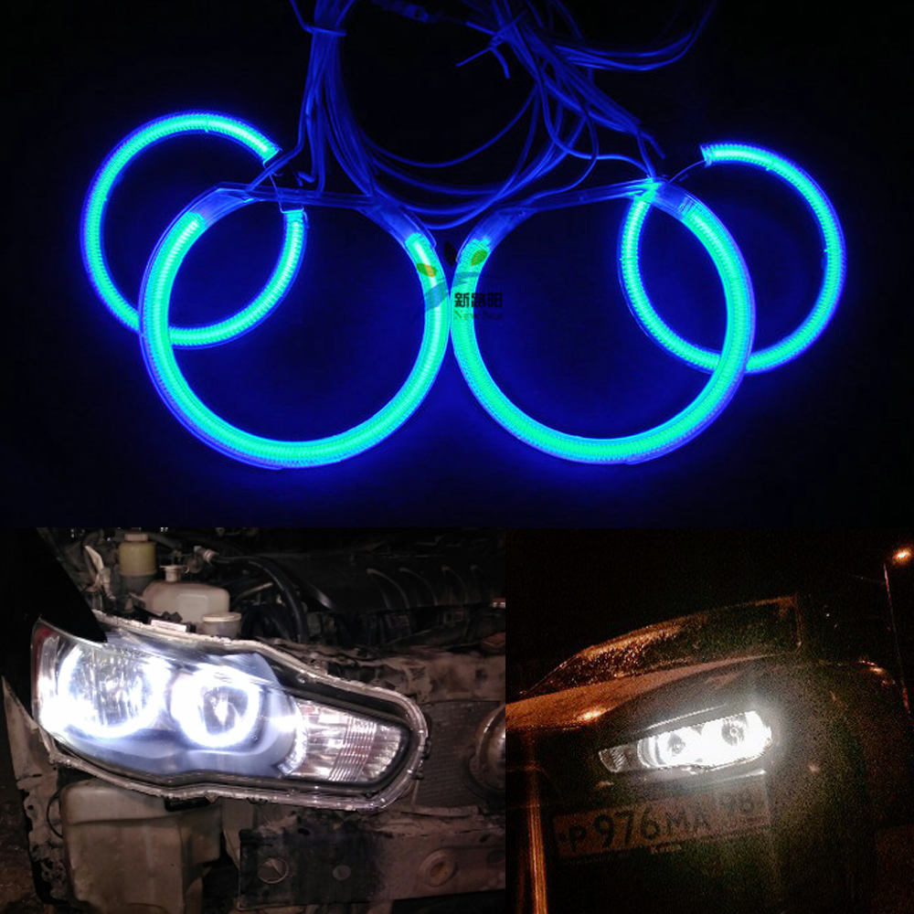 7000K White CCFL Angel Eyes Halo Ring Kit Replacement For Mitsubishi Lancer X Evo X 10 2007-2015 Halogen headlight<br>