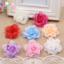 10pcs 4cm artificial silk rose wedding decoration artificial flower heads Collage DIY craft supplies simulation flowers wreath(China)