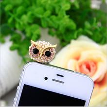 Owl Design Studded With Pearls Mobile Phone Ear Cap Dust Plug For Iphone For Samsung 3.5mm Earphone DustPlug For Xiaomi Meizu(China)