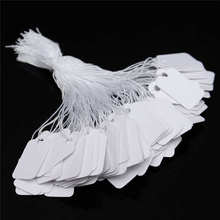Kiwarm New Arrival 500Pcs/Pack White Strung Jewellery Tags Price Ticket Garment Tags Label Retail Clothing Gift 24x14mm