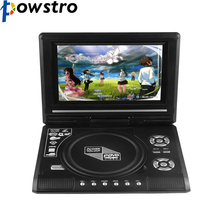 POWSTRO K Portable 7.8'' DVD Player with 7 Inch TFT Display Screen 270 Rotating Game Analog TV USB SD Card Slots MP3 CD VCD Play(China)