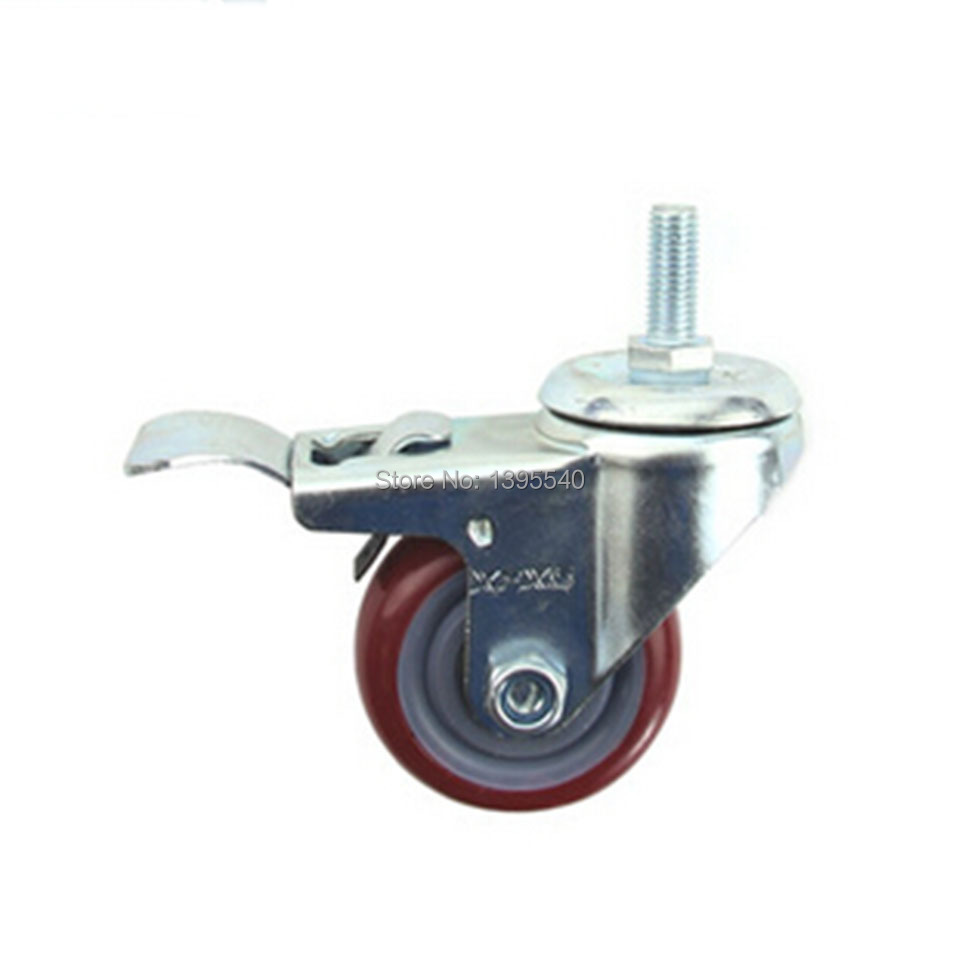 New 3 M12 Swivel Wheel Caster Industrial Castor Univeral Wheel Brake PU 360 Degree Rolling Heavy Caster Double Bearing Wheel<br><br>Aliexpress