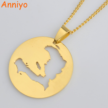Anniyo Haiti Map Pendant Necklaces for Women/Girls,Ayiti Gold Color Jewelry Gifts Map of Haiti Ornament Items #012621(China)