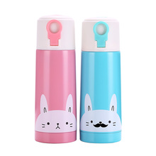 UPSTYLE Cute Rabbit Thermos Bottle Pattern Travel Stainless Steel Bottle Insulated Thermos Cup Coffee Mug, 2 Colors, 11.8OZ