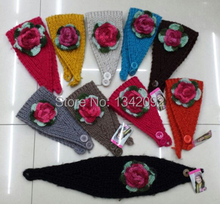 Handmade Knit Winter Soft Warm Headband Colorful Crochet Flower Headwrap Hairband Ear Warmer For Girls Ladies Mix Colors