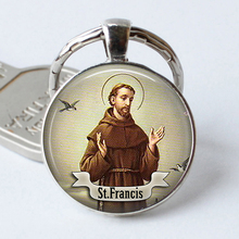 St Francis Religious Belief Keychain Glass Cabochon Pendant Jewelry