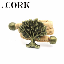 Natural Cork Portuguese cork Antique Brass life of tree cork women Ring soft original, adjustable handmade R-015(Portugal)