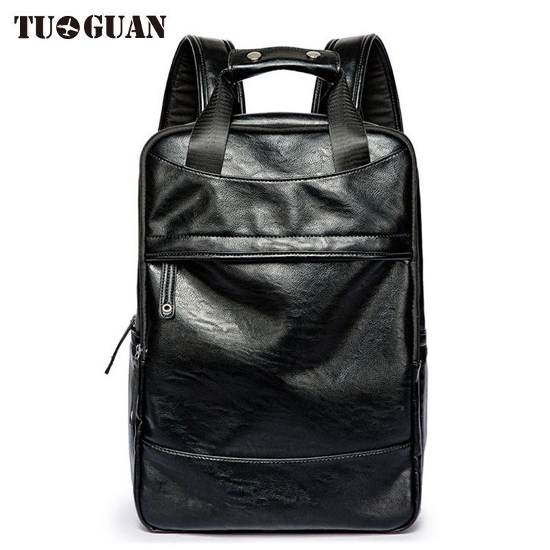 TUGUAN Fashion Men PU Leather Backpack Laptop Bag Waterproof Casual Schoolbag College Student Back Pack for Boy Male Bagpack <br>
