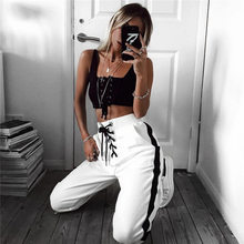 Athleisure Cut Out jogger pants Women Trousers sporing chic Loose Casual cargo Pants Poket Drawstring 2017 Autumn Harem Pant(China)