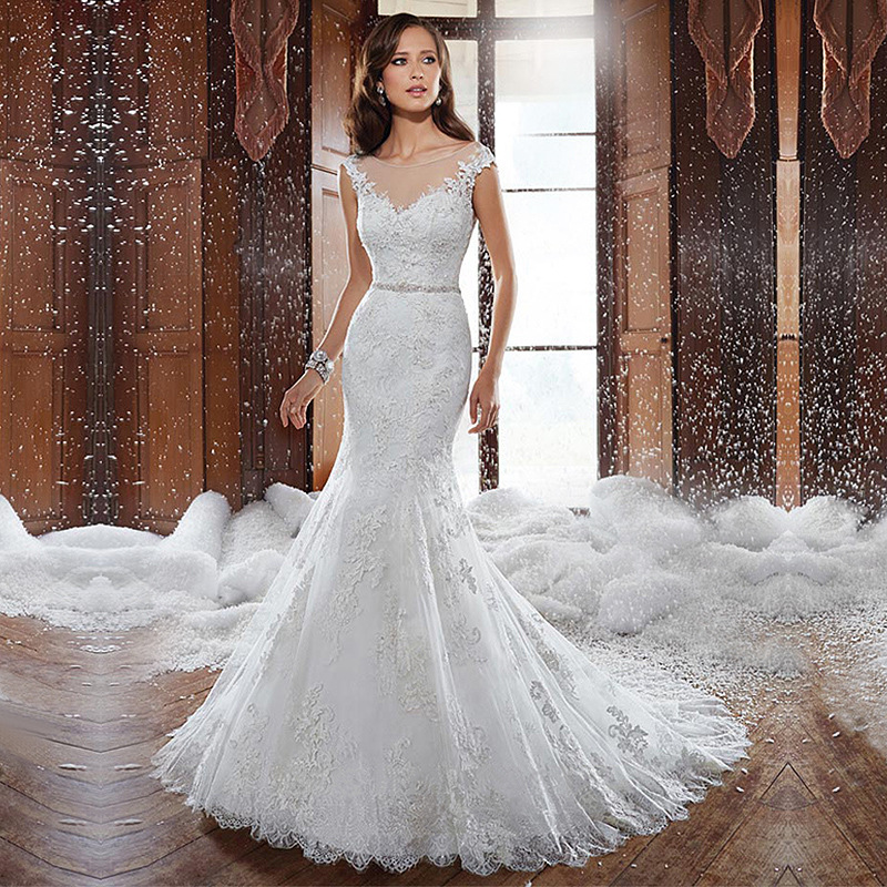 summer lace backless fishtail wedding dress trailing princess bride wedding dress lace fishtail tail wedding dress