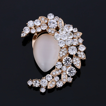 New Arrival Simulated Opal And Crystal Rhinestone Women Moom Brooch Pins or Scarf Clips Buckle Double Used