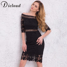 Buy DICLOUD 2018 Summer Women Dresses Slash Neck Half Sleeve Lace Hollow Sexy Elegant Midi Dress Bodycon Vestidos SAB0363688 for $19.99 in AliExpress store