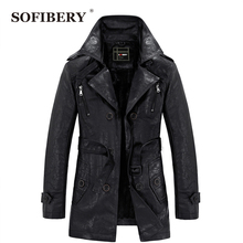 SOFIBERY Autumn winter  long leather jacket men thick warm mens leather jackets and coats fashion wool liner overcoat  SOF-LY01
