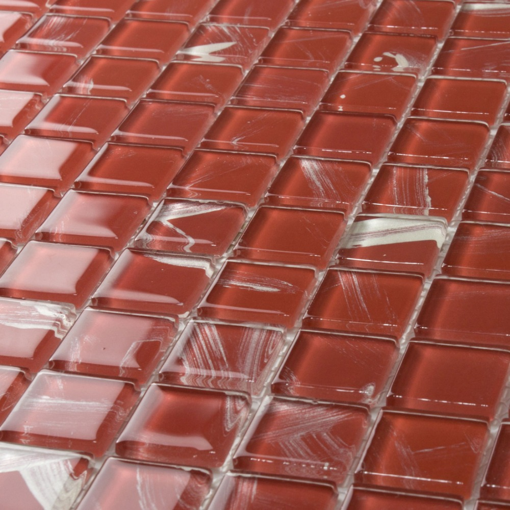 Red backsplash tile - Red Diy Crystal Glass Mosaic Hmgm1151b For Kitchen Backsplash Tile Bathroom Shower Hallway Wall Mosaic Free