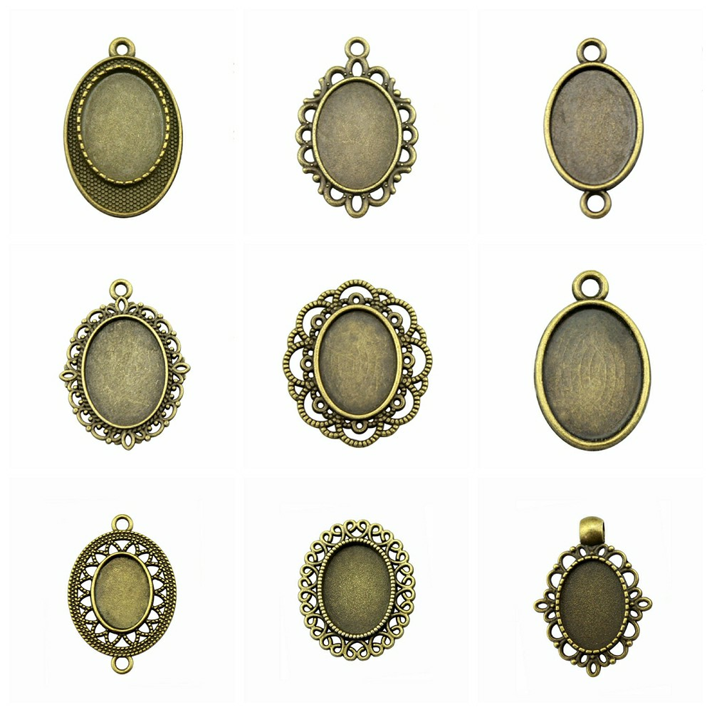 10 Styles 13*18mm Inner Size Oval Zinc Alloy Cabochon Base Cameo Setting Different Charms Pendant Tray MIX_F_TY_13x18mm_1