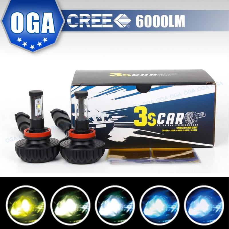 OGA 2PCS H8 H9 H11 LED Headlight Cree LED Chips Auto LED Headlamp Bulbs Car Auto Headlight Fog Driving Head Lights With 5 Colors<br><br>Aliexpress