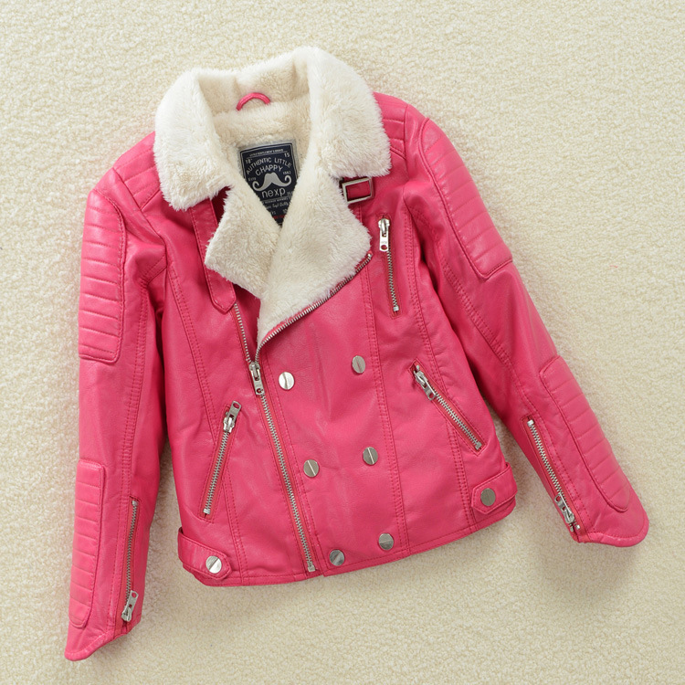 High Quality Girls PU Leather Autumn Winter Jackets 2015 brand New Fashion Children 3-12Y Clothing Kids Warm Coat Outerwear<br>