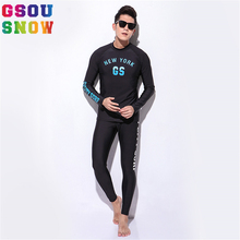 Gsou Snow Brand Wetsuit Diving Swimming Suit Men Long Sleeve Surfing Rash Guards Swimwear Summer Beach Water Sports Clothes