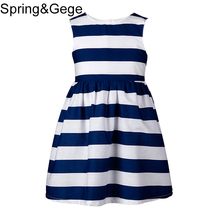 Girls Dress New Brand Summer Girls Clothes Kids Blue Striped Dresses for Girls Formal Party Princess Dress Children Clothing(China)