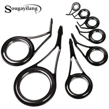 Sougayilang 75pcs/box Fishing Rod Rings 8 Sizes Stainless Steel & Ceramic Fishing Rod Guides 6-30mm Repair Kit DIY Rod Guides