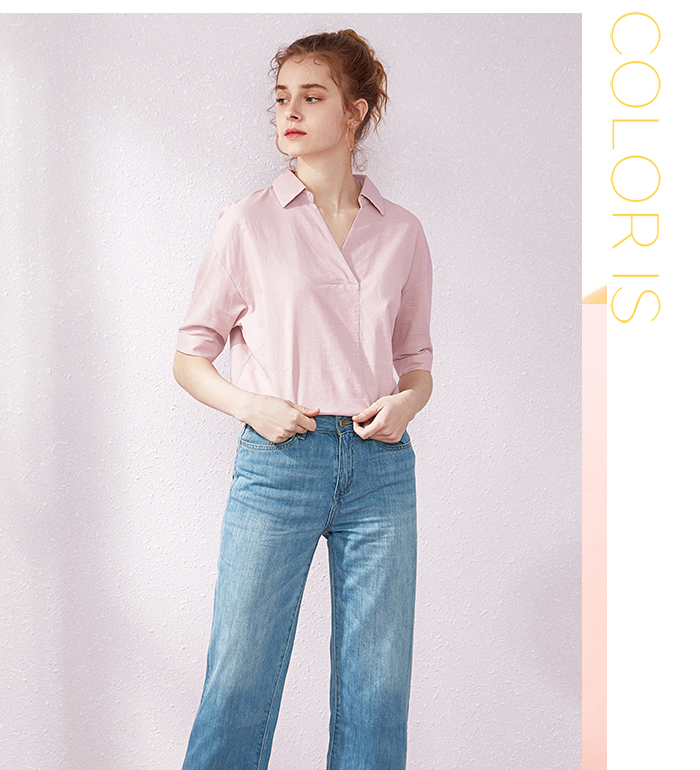 SEMIR Short sleeve white shirt women summer 19 new lapel V-neck shirt simple solid color students fresh relaxed blouse 6