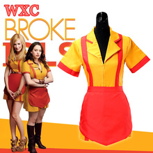 TV 2 Broke Girls Fancy Dress Cosplay Max and Caroline Diner Waitress Dresses Apron Snack Bar Uniforms Women Party Costume WXC