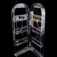Creative choice of fun necklace earrings bracelet holder clear acrylic jewelry accessories shop main door display rack