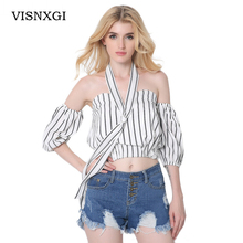 Women's Clothing Tube Top Cotton Striped Shirt Strap 2017 Women Blouse Midriff Baring Half Sleeve Blusa Sexy Party Tops Camisa