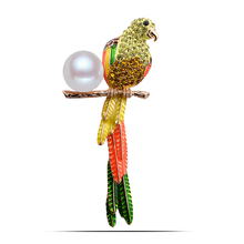 B391 Pearl Parrot Brooches For Women Gold And Silver Color Jewellery Rhinestone Pins And Brooches Luxury Collar Pin(China)