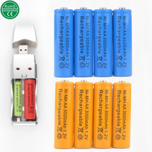 New 8pcs AA 3000mAh Rechargeable battery + mini USB charger eco NI-MH 1.2V 2A Baterias for camera rc toys