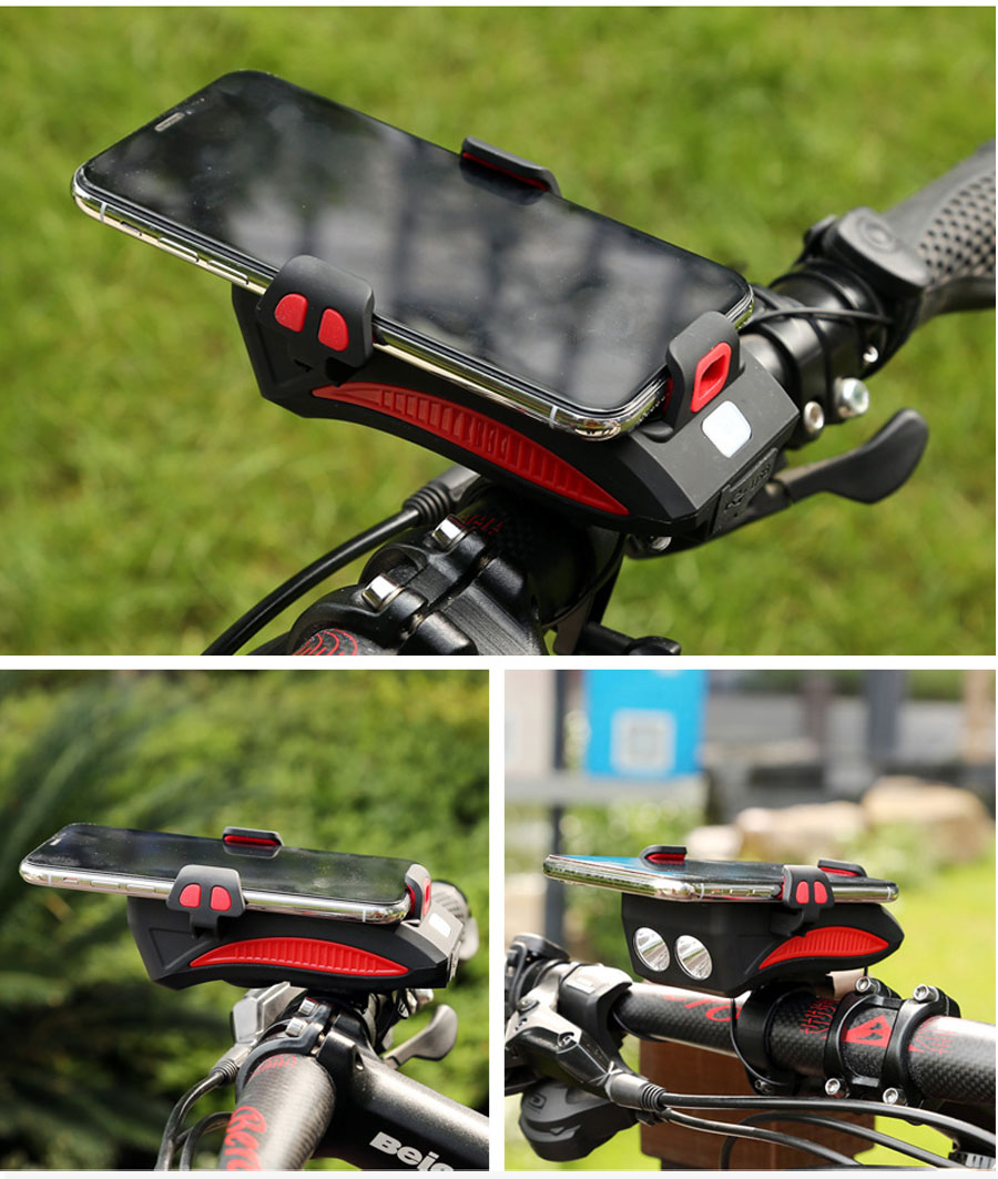 Top NEWBOLER 4 in 1 Bicycle Light Power Bank 4000mAh Flashlight Bike Horn Alarm Bell Phone Holder Bike Accessories Cycle Front Light 14