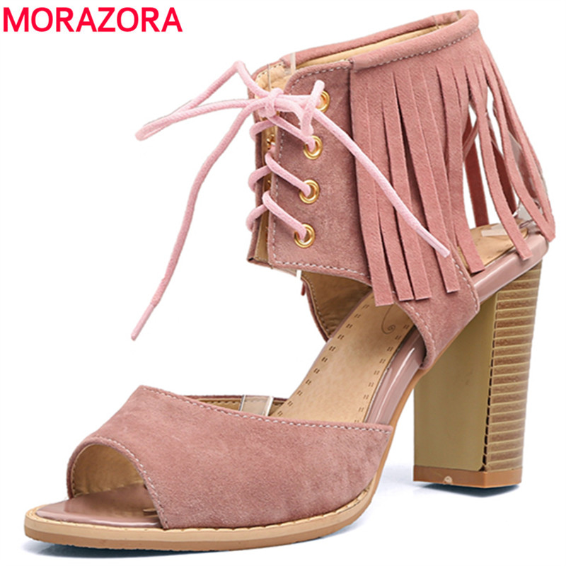 MORAZORA 2017 Large size 34-48 hot sale new arrive summer shoes woman high heels sandals women shoes gladiator party flock<br>