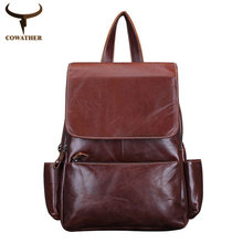 COWATHER Vintage 2016 cow genuine leather backpacks for women big capacity Exquisite Crafts Oil wax leather high  original brand