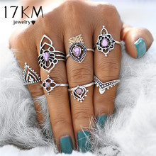 17KM Retro Boho Flower Ring Sets Vintage Tibetan Purple Crystal Knuckle Midi Rings for Women Beach Anillos Punk Jewellery