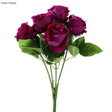 1 Bunch Silk Artificial Flower Purple Rose For Wedding Party Public places Celebrations Home Garden Festival Decor 47cm