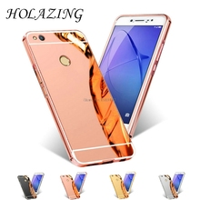 "HOLAZING 2 in 1 Detachable Metal Aluminum Bumper Frame Case For Huawei P8 Lite 2017 5.2"" With Mirror Back Hard Cover(China)"